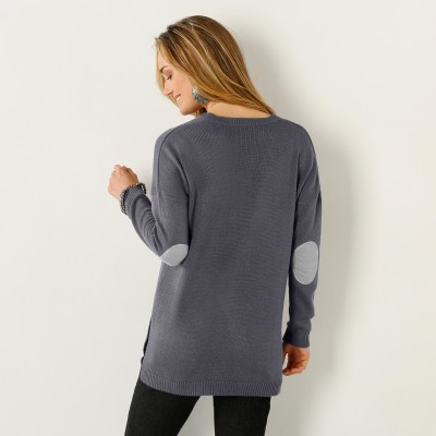 Pull col V uni Anthracite / gris chiné: Vue 3