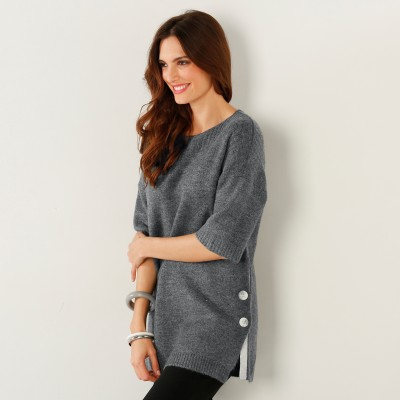 Pull poncho boutonné Anthracite: Vue 3