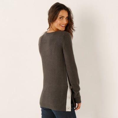Pull boutonné col rond Anthracite: Vue 3