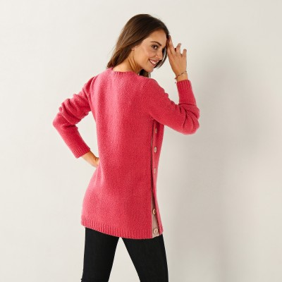 Pull boutonné col rond Rose: Vue 3