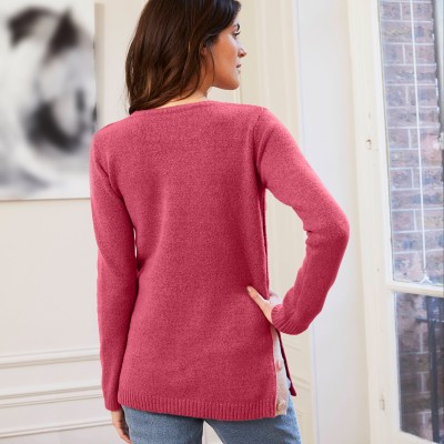 Pull boutonné col rond Rose fard: Vue 3