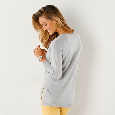 Pull col rond Gris perle: Vue 3