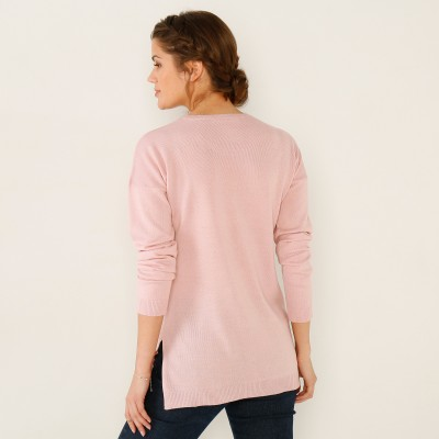 Pull col rond Rose poudré: Vue 3