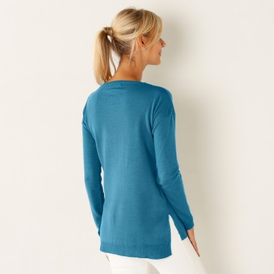 Pull col rond Turquoise: Vue 2