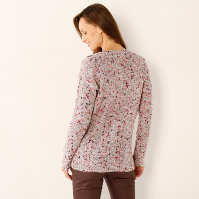 Pull chiné col rond Beige chiné: Vue 3