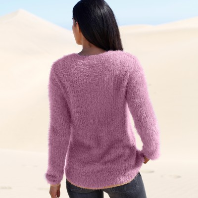 Pull col rond maille perlée Parme: Vue 3