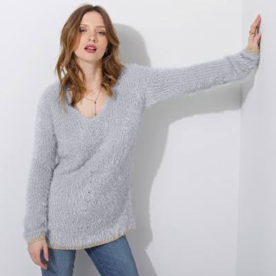 Pull col V maille perlée Gris perle: Vue 3