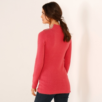 Pull col montant Rose: Vue 3