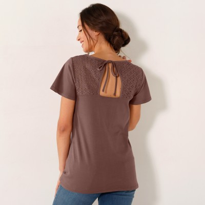 Tee-shirt brodé dos manches courtes Taupe: Vue 2