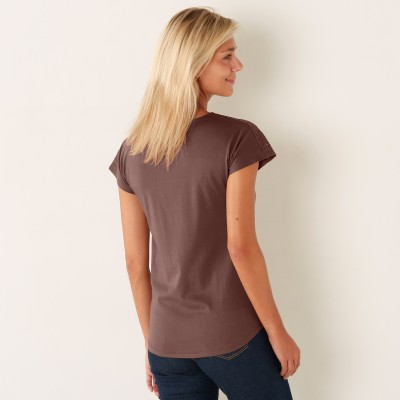 Tee-shirt brodé manches courtes Taupe: Vue 2