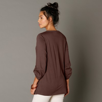 Tee-shirt manches longues brodé Taupe: Vue 3