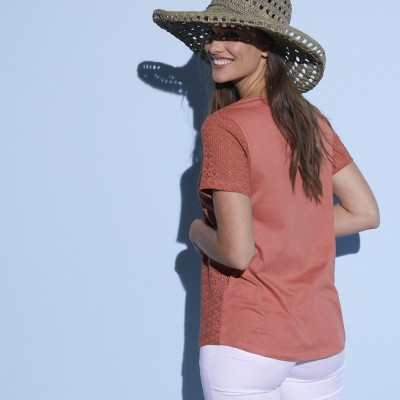 Tee-shirt col V broderie anglaise Terracotta: Vue 3