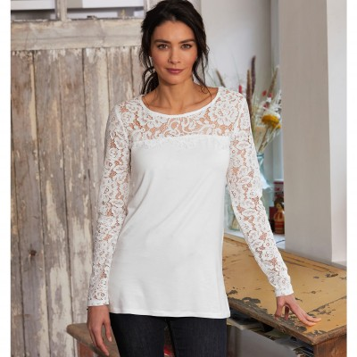 Tee-shirt col rond manches longues dentelle jersey Blanc: Vue 3
