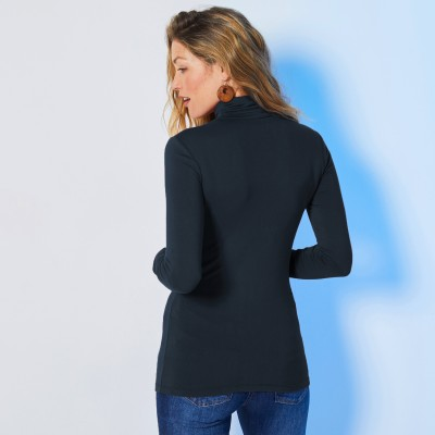 Sous-pull col montant maille stretch Marine: Vue 3