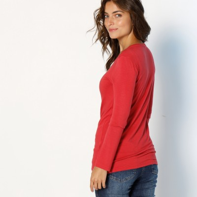 Tee-shirt col rond viscose stretch Rouge grisé: Vue 3