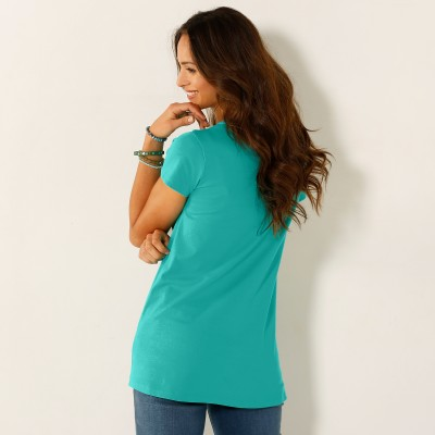 Tee-shirt col tunisien broderie anglaise Menthe: Vue 2
