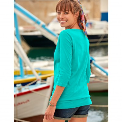 Tee-shirt manches 3/4 col rond uni Menthe: Vue 3