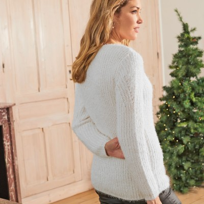 Pull fantaisie maille brillante Naturel: Vue 3