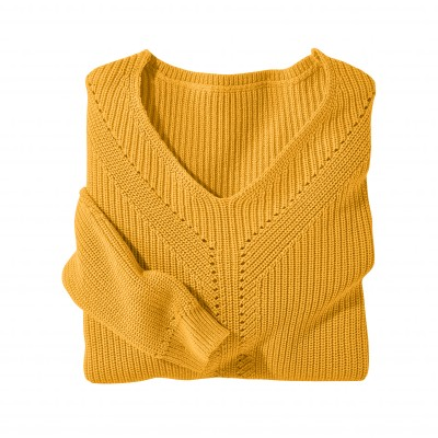 Pull col V maille fantaisie Ocre: Vue 3
