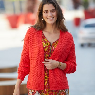 Gilet col V maille fantaisie Rouge: Vue 3