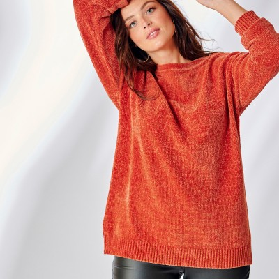 Pull boîte maille chenille manches longues Cuivre: Vue 3