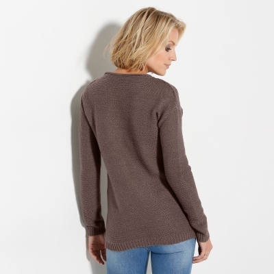 Pull manches longues maille fantaisie Taupe: Vue 3