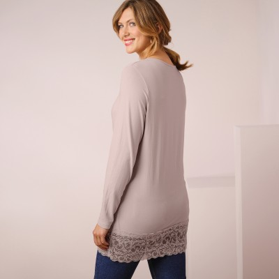 Tee-shirt manches longues base dentelle Taupe: Vue 2
