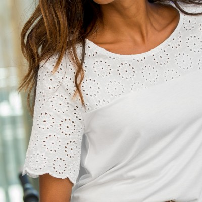 Tee-shirt broderie anglaise Blanc: Vue 3