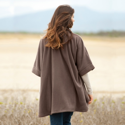 Poncho polaire Taupe: Vue 3