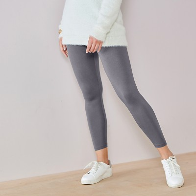 Legging coton extensible uni Anthracite: Vue 3