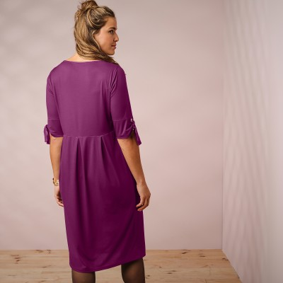 Robe unie manches coudes nouettes Prune: Vue 3