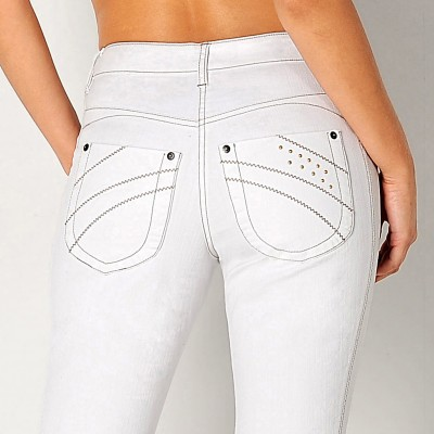 Pantacourt amincissant denim extensible Blanc: Vue 3