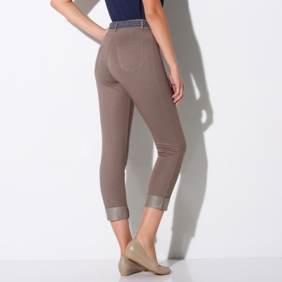 Pantacourt maille jean extensible Taupe: Vue 3