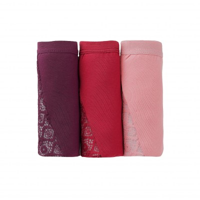 Shorty incrusté de dentelle - Lot de 3 Bordeaux + cerise + rose: Vue 3