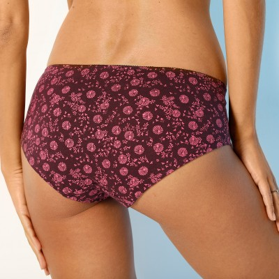 Shorty imprimé «flocons» en coton – Lot de 4 assortis Prune / fuchsia: Vue 3