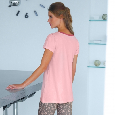 T-shirt pyjama jersey manches courtes Rose: Vue 3