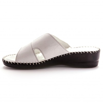 Mules extra larges cuir - blanc Blanc: Vue 3