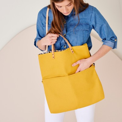 Sac shopping transformable en besace, fabrication éco-responsable Curry: Vue 3