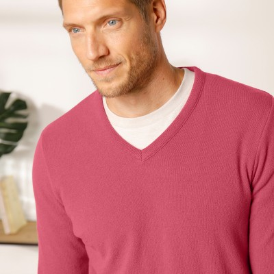 Pull col V 80% laine Pourpre: Vue 3