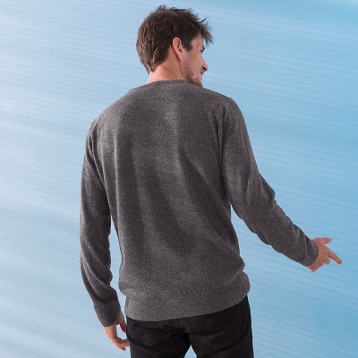 Pull col rond 80% laine Anthracite: Vue 3