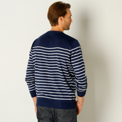 Pull rayé col rond Marine / gris: Vue 3