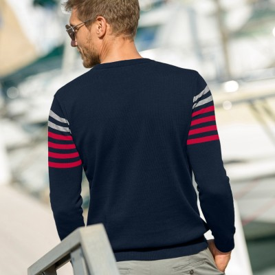 Pull rayures placées col rond Marine: Vue 3