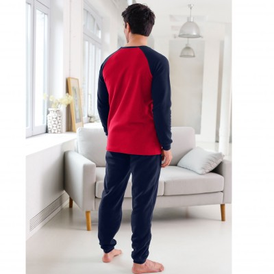 Pyjama maille polaire manches longues raglan Marine / rouge: Vue 3