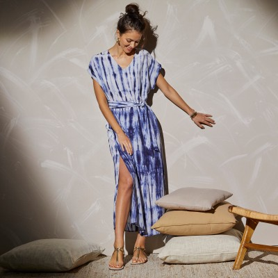 Robe longue maille tie and dye Bleu: Vue 4