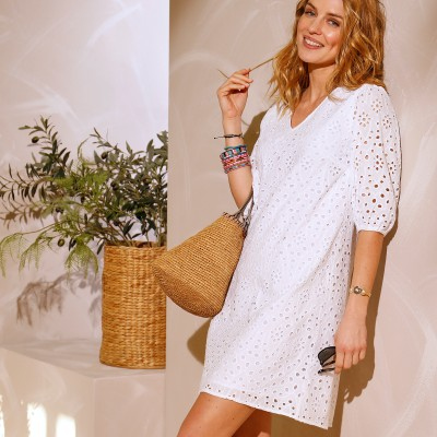 Robe broderie anglaise Blanc: Vue 4