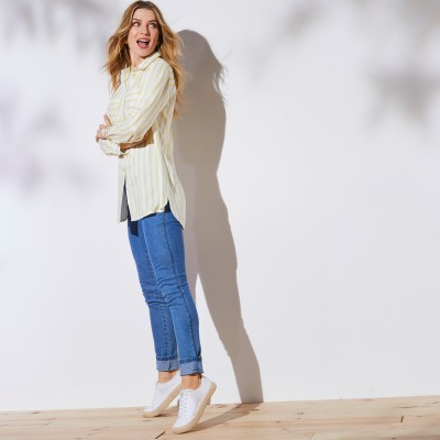 Chemise rayée manches longues Blanc / anis: Vue 4