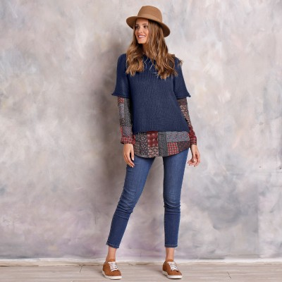 Pull poncho manches coudes Marine: Vue 4