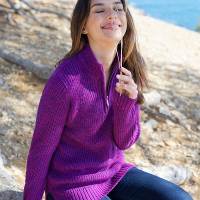 Pull col montant maille anglaise 30% laine Violine chiné: Vue 4