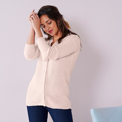 Cardigan boutons perles toucher mohair Nude: Vue 4