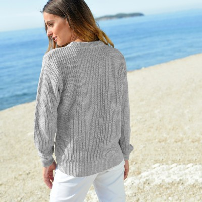 Pull col rond maille anglaise Gris chiné: Vue 4
